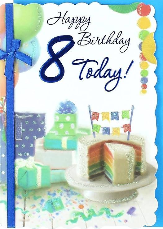 VIBRANCE 8 años boy tarjeta de cumpleaños - Camisa, balones ...