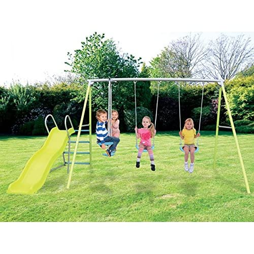 Arcus Garden Double Swing, Glider And Slide Kids Outdoor Play Set