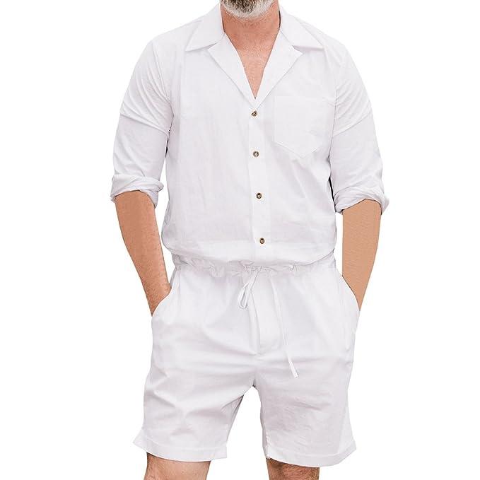 Junkai Camisa de Manga Corta Hombre Jumpsuit de Moda V Cuello Mameluco de Corte Slim con