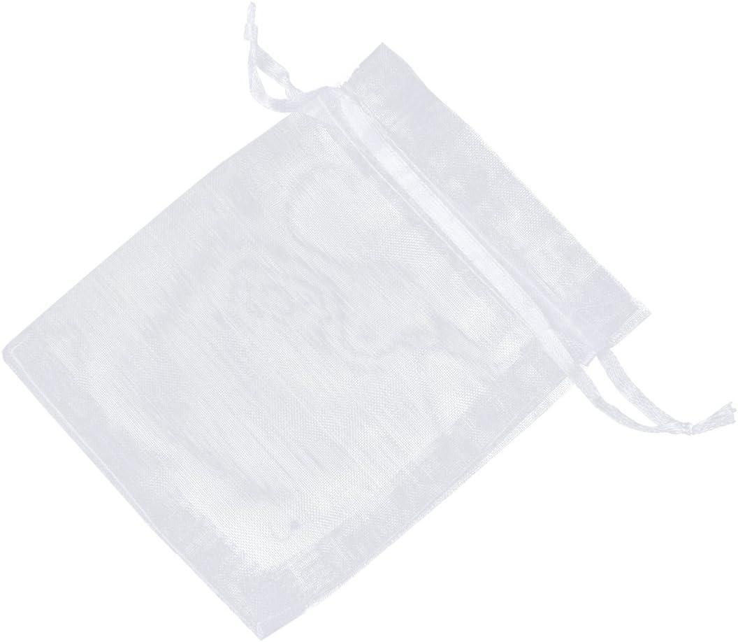 White ReNext Organza Drawstring Pouches Bags