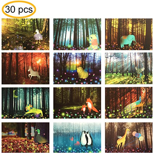 "Rumcent Postcards Lovely Animals in Fair Forest Postcards, Size: 14.3 x 9.3 CM (5.6"" x 3.6""), Pack of 30pcs"