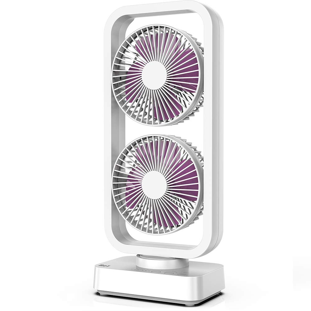 OPOLAR 2019 New Cordless Rechargeable Oscillating Tower Fan, 5000mAh Battery Operated Desk Fan, with 3-12H Working Hours, Quick Charge, for Travel, Camping and Outdoor Activities