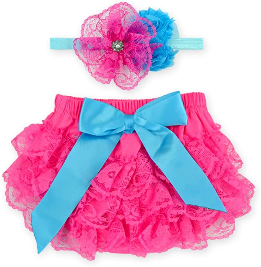 Rush Dance Lace Ribbon Baby Ruffle Bloomers Diaper Covers /& Headband