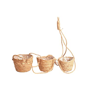 Natural Seagrass Hanging Baskets, Handmade Flower Pot Holder Used for Indoor Outdoor Succulents and Small Plants Set of 3: Garden & Outdoor