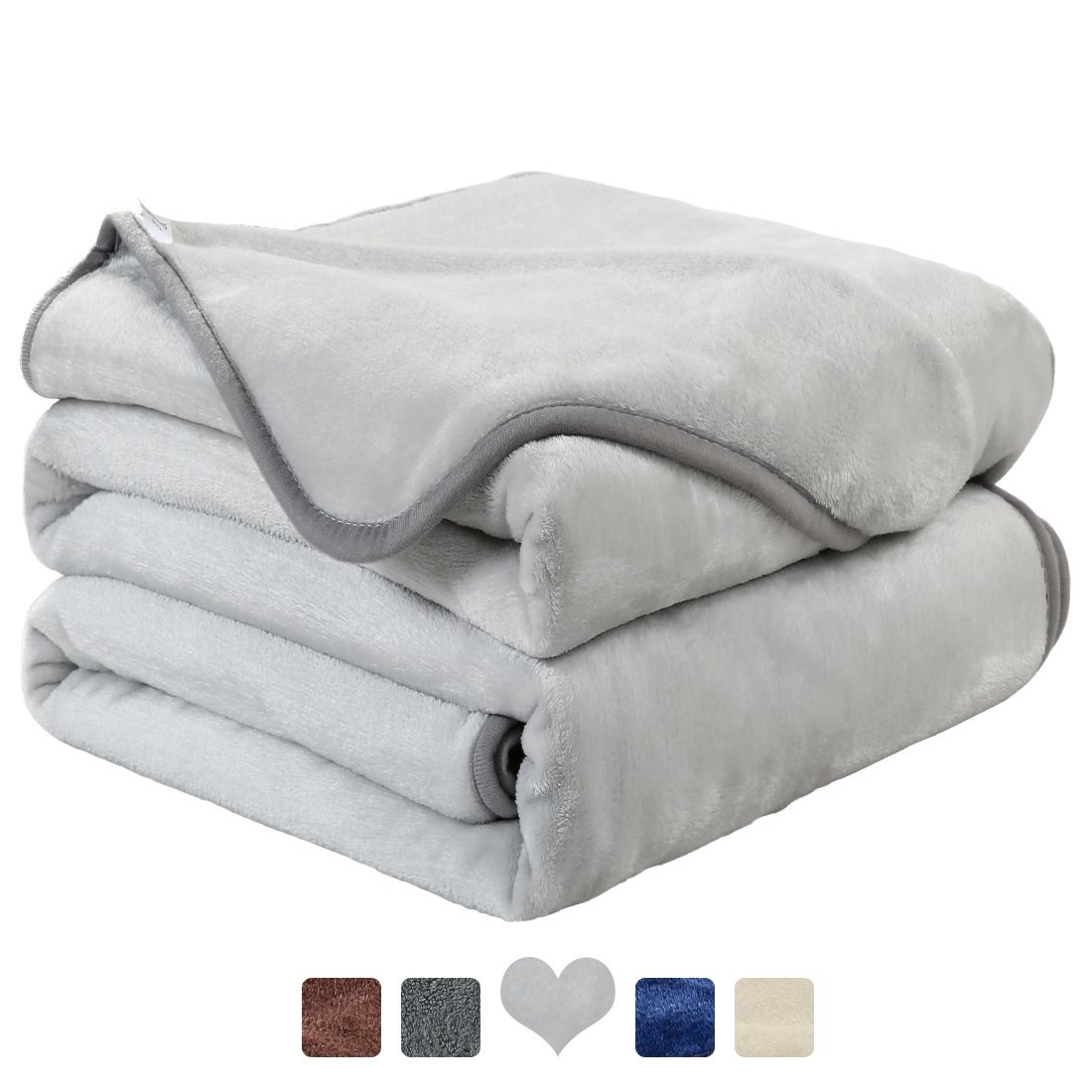 MAEVIS Fleece Luxury Blanket Super Soft Cozy Lightweight Plush Fur Warm All Season Throw for Bed and Couch (Queen, Silver Grey)