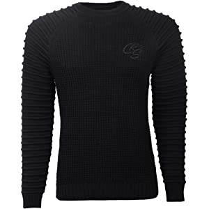 Mens COTTON CASHMERE Jumper Crosshatch Knitted Sweater Pullover Top Patches New