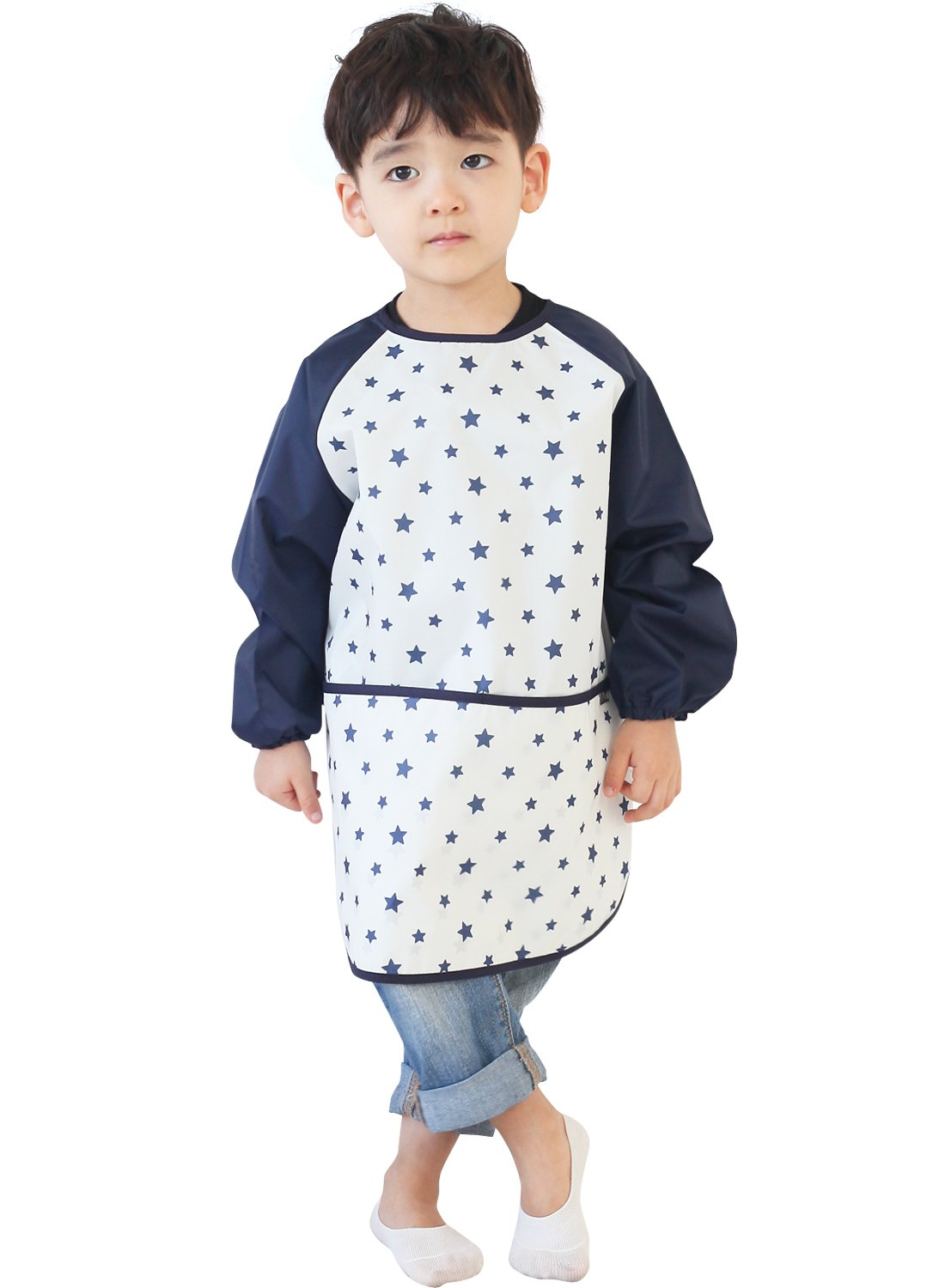 Plie Kids Art Smocks, Children Waterproof Artist Painting Aprons Long Sleeve with Pockets, Pink Animal (04-S) GIN01-04-S