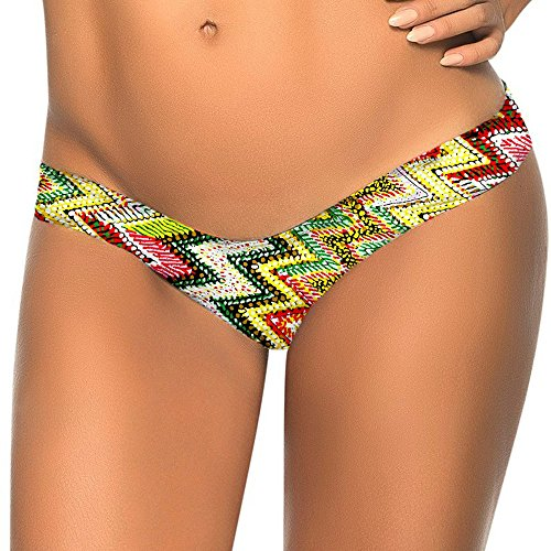 Women Brazilian Print Bikini Bottom Thong Bathing Beach Swimsuit Swimwear YE/XL