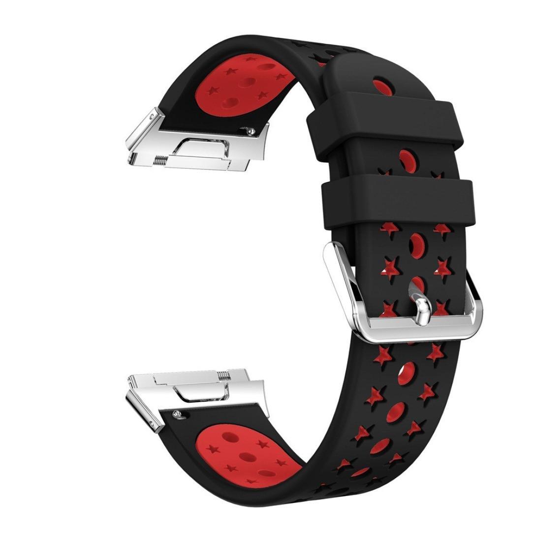 For Fitbit Ionicバンド軽量通気シリコン穴あきストラップ、aritone交換スポーツシリコン時計バンドfor Fitbit Ionic  スイカレッド B076JFJ831
