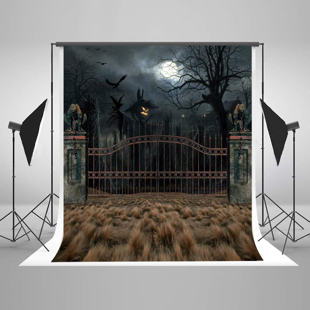 写真背景幕 10x10 ブラック 夜の木 家 ハロウィン 背景幕 写真 シームレス 写真スタジオ 背景布   B07GFM5XJC
