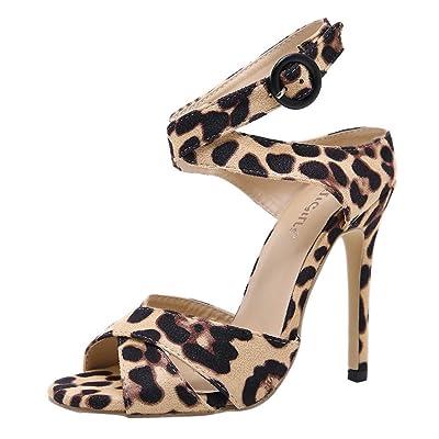 AIni Femmes LéOpard à Talons Hauts Stiletto Cross Belt Single Shoes Sanda Sexy Ladies '-Plage Chaussures Chaussures et Sacs