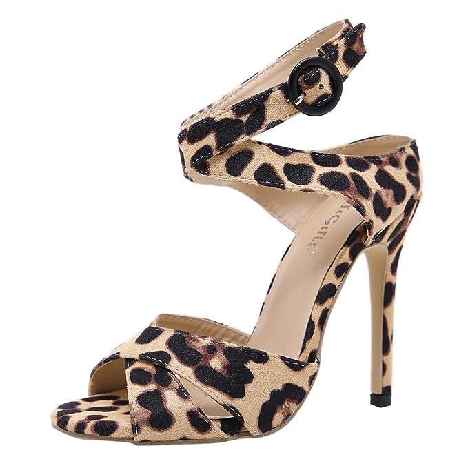 Sandalias Mujeres Verano Sandals Peep Toe Sandalias de Pulsera para Mujer Leopardo de tacón Alto para Mujer Cinturón Cruzado, Zapatos Individuales, ...
