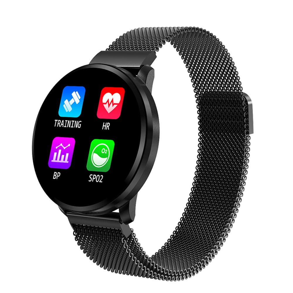 Smartwatch Men,Boens1.22inch Full Touch Color Screen Smart Bluetooth Smart Watch Waterproof IP67 Bracelet Heart Rate Blood Pressure Blood Oxygen Monitoring Health Smart Watch for Android iOS(Black) by Boens