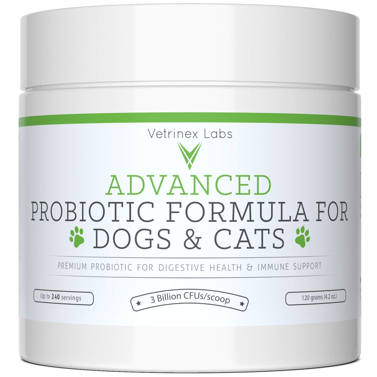 Probiotics for Dogs and Cats with Prebiotic - 240 Servings. 3 Billion CFU. 7 Strains - Best Supplement for Relief from Diarrhea, Skin & Yeast Infections, Allergies, Gas, Itch, Bad Breath & Stomach by Vetrinex Labs