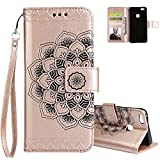 Huawei P10 Lite Case, Aeeque Pretty [Rose Gold Mandala] Pattern and Slim Thin Bookstyle Flip Stand Magnetic Phone Case PU Leather Protection Holster with Credit Card Slots for Huawei P10 Lite 5.2 inch