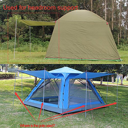 Top Lander Tent Tarp Poles Folding 3 Section Adjustable