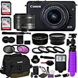 Canon EOS M10 Mirrorless Digital Camera (Black) Premium Accessory Bundle with Canon EF-M 15-45mm IS STM Lens (Graphite) + Canon Water Resistant Case + 64GB Memory + HD Filters + Auxiliary Lenses