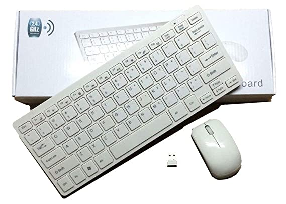 Terabyte 2.4Ghz Wireless Mini Keyboard and Mouse Combo for Windows OS Laptops with USB Support  White  Keyboards, Mice   Input Devices