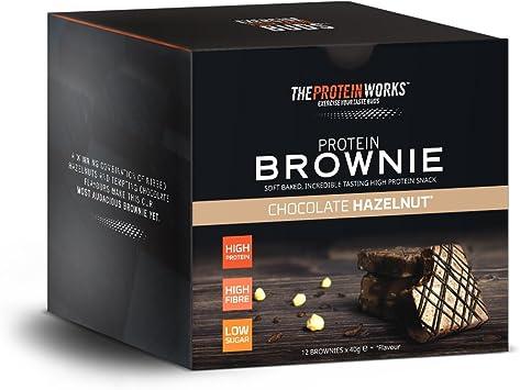Brownies Proteicos   Alto en Proteínas, Snack Bajo en Azúcar   Alto en Figra   THE PROTEIN WORKS   Chocolate Belga   Caja de 12