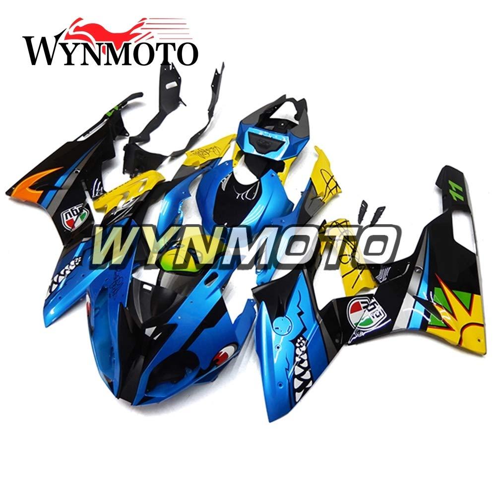 WYNMOTO 外装部品セット適応 BMW S1000RR 2015 2016 15 16 年 ABS 射出プラスチック青と黄色のボディパネル   B075WRQ59Z