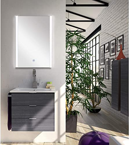 Transolid TLME2232 Ethan Rectangular Vertically Mounted LED-Lighted Frameless Contemporary Wall Mirror with Touch Sensor – Fits 22-in. Vanity, W x 32-in H, Silver