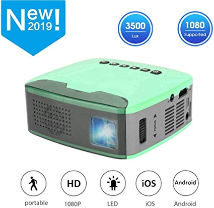 Mini HD Projector,Portable 1080P 13ANSI Lumens LED Multimedia Home Theater Player Cinema Beamer with Remote Control for Home//Office//Entertainment,Support AV//HDMI//USB//TF US