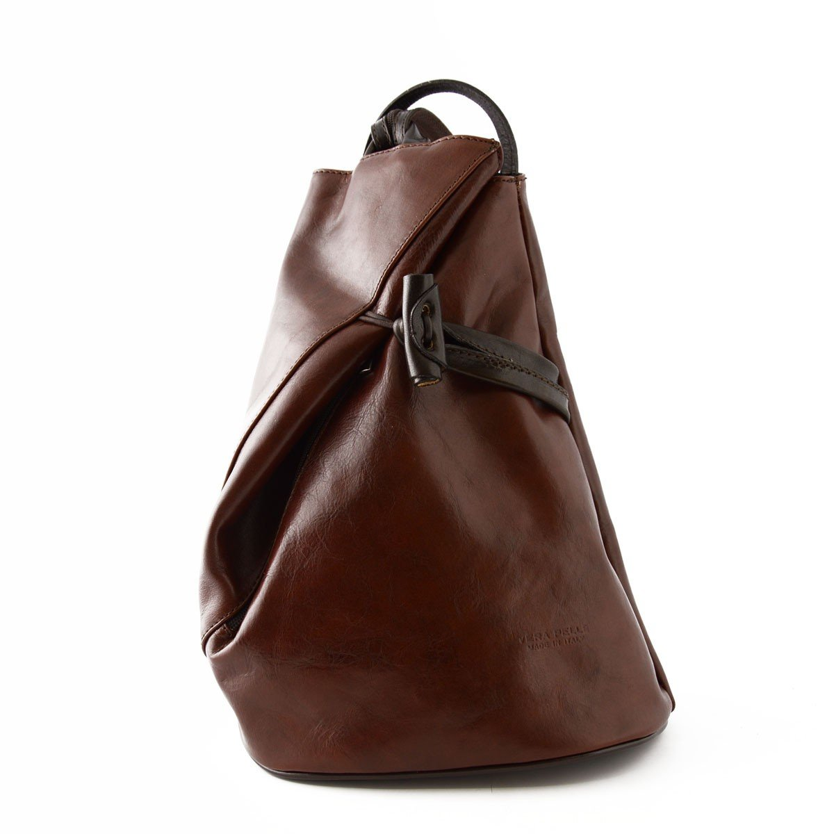 Leather Backpack for Women with Zipped Straps Color Black