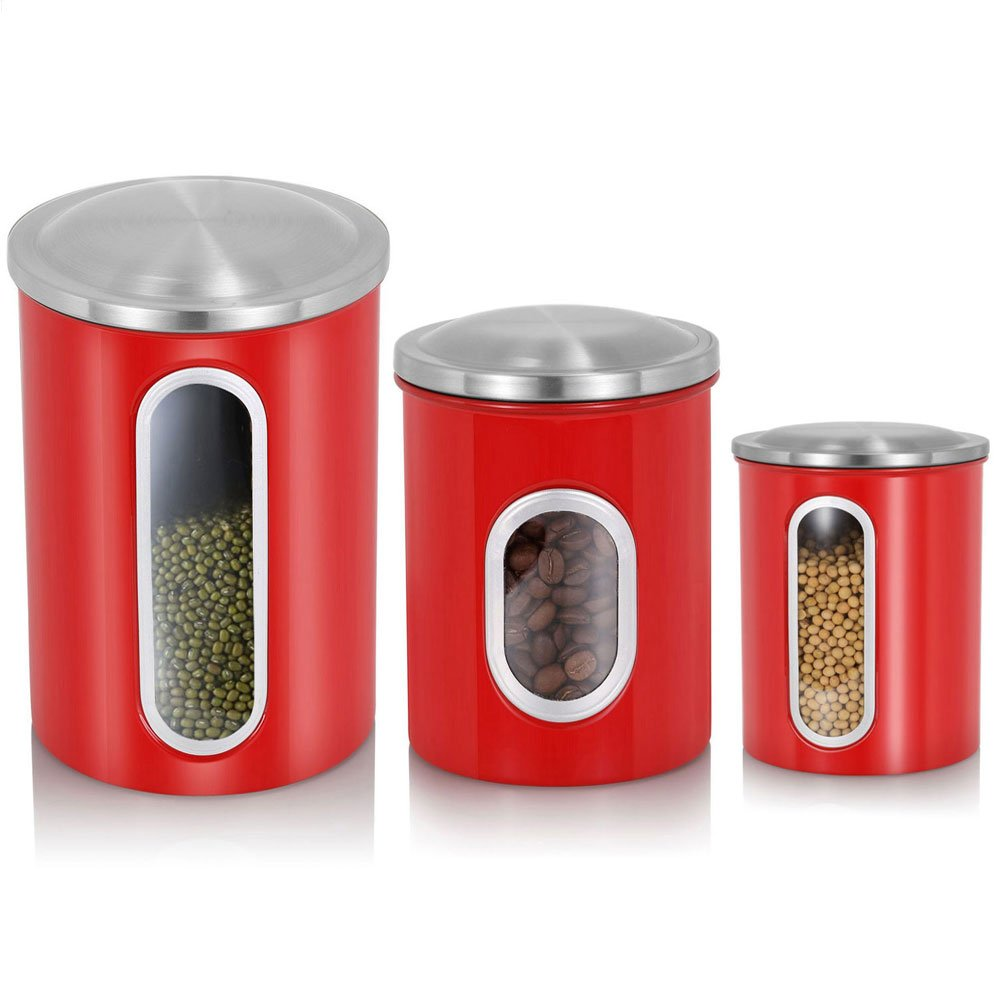 Red Kitchen Canisters Set,Fortune Candy 3 Piece Nested Kitchen Canisters with Airtight Lids,Anti-Fingerprint Stainless Steel Storage Canisters,Multi-Purpose Window Canister Set