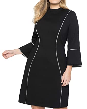 d3e922af5a0 COCOEPPS Women s Plus Size Round Neck 3 4 Sleeve Above Knee Zipper Work or Casual  Dress Black