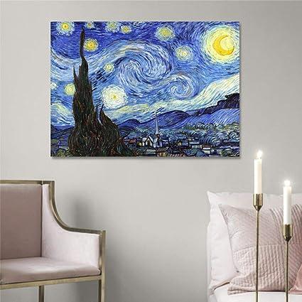 Quadro Van Gogh Notte Stellata, Stampa su Tela Canvas 70 x 50 cm   Quadri  Moderni Soggiorno XXL, Camera da Letto, Salotto, Cucina   Riproduzioni ...