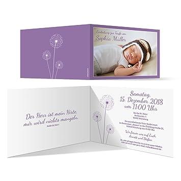 10 X Taufkarten Taufeinladungen Einladungskarten Taufe Einladung Pusteblume In Lila