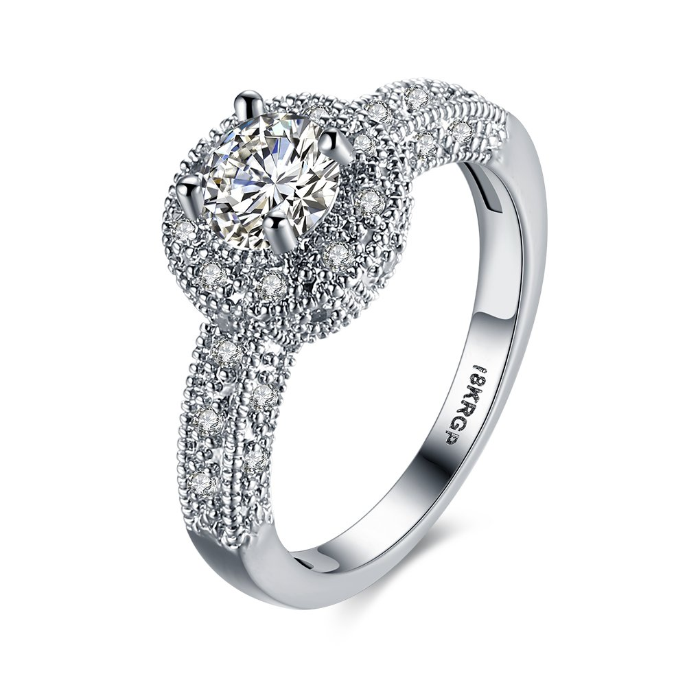 Blean 18k White Gold Plated 7mm Heart and Arrows Cut Cubic Zirconia Solitaire Engagement Ring KUPTYW121