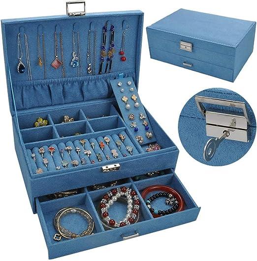 ETH - Caja de Almacenamiento para Joyas, Anillos, Pendientes, Collares, Pendientes, Collares, Caja de Almacenamiento Doble, Color Cian (27 x 18,5 x 10,5 cm): Amazon.es: Hogar