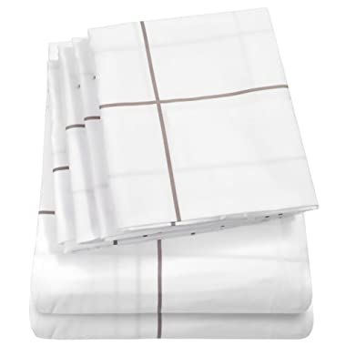 Sweet Home Collection Sheets 6 Piece 1500 Thread Count Deep Pocket Hypoallergenic Brushed Microfiber Soft and Comfortable Bedding Set, Queen, Window Pane White,