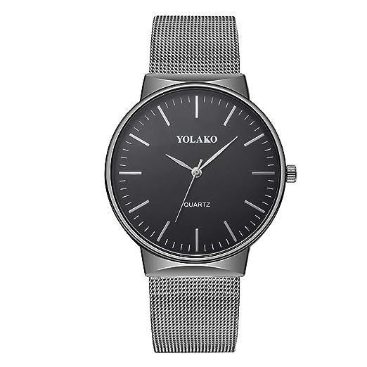 Reloj Inteligente Hombre Mujer YOLAKO Reloj de Pulsera analógico con Correa de Acero Newv Band de Cuarzo para Hombre Reloj Actividad (Negro): Amazon.es: ...