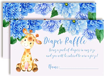 """Bring a Pack of Diapers to Win Favors /& Prizes! Watercolor Violet Floral Diaper Raffle Tickets for Baby Showers 20 2 X 3/"""" Double Sided Insert Cards for Games by AmandaCreation"""
