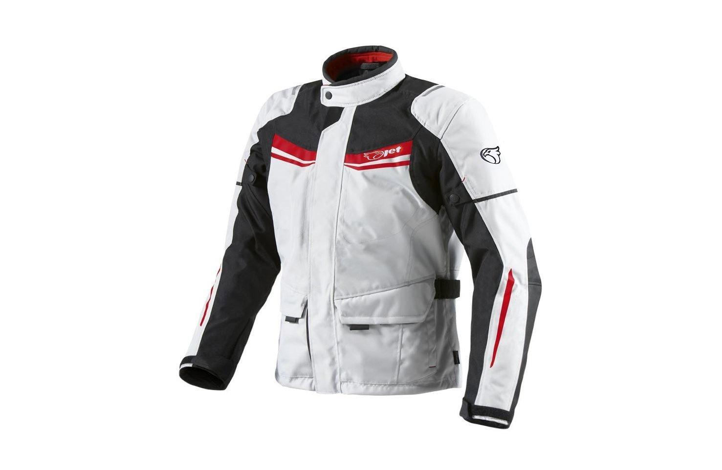 JET Chaqueta Moto Hombre Textil Impermeable con Armadura Aquatex (5XL (EU 60-62), Blanco Rojo)
