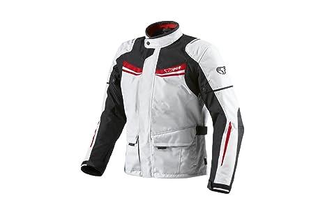 JET Chaqueta Moto Hombre Textil Impermeable con Armadura Aquatex (6XL (EU 62-64), Blanco Rojo)