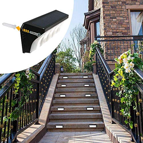 Solar Powered Stair Step Light, Wireless Waterproof Outdoor Lights Security Directive Decorative Lighting for Backyards Decks Driveway Fence Garden Garage Porch Pathway Patio Wall (8 Pack) by roadwi (Image #3)