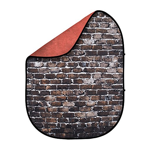 Fovitec - [Mars Red Grunge Brick 5' x 6.5' Double-Sided Pop-Out Muslin Backdrop - [Professional Grade][Collapsible Background][Bag Included] -