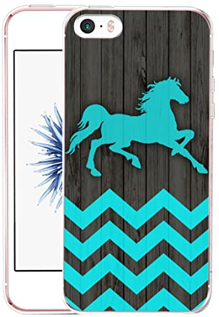 Case for iPhone SE Horse - CCLOT Flexible Cover Protector Compatible for iPhone 5/5S/SE Creative Artist Artwork Design Horse Wonderful Blue Animal ...