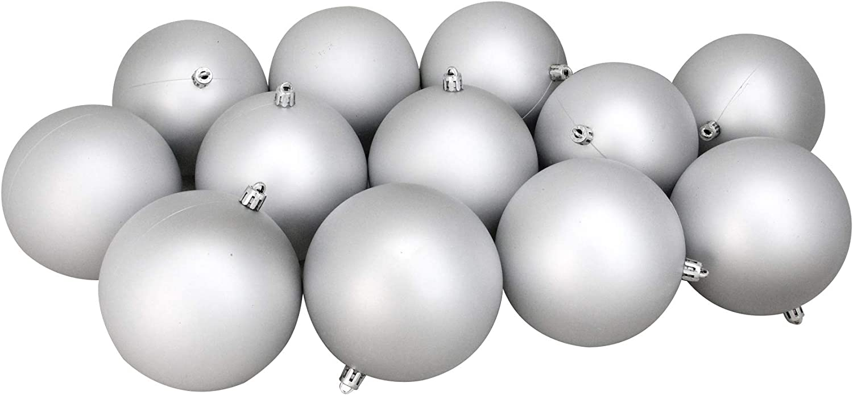 12ct Silver Splendor Shatterproof Matte Christmas Ball Ornaments 4 100mm Kitchen Dining Amazon Com