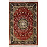 Rugstc 3'11 x 6'8 Pak Persian Area Rug with Silk & Wool Pile - Floral Design | 100% Original Hand-Knotted in Red,Black,Beige Colors | a 4x6 Rectangular Double Knot Rug