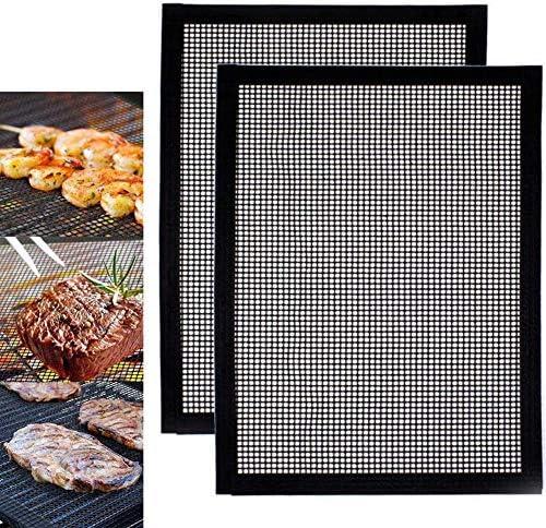 WLHER Lot De 2 Tapis De Cuisson Anti-Adhésives pour Barbecue 40 X 33 Cm, Tapis De Cuisson Réutilisables en Téflon, pour des Soirées Barbecue en Intérieur Et en Extérieur
