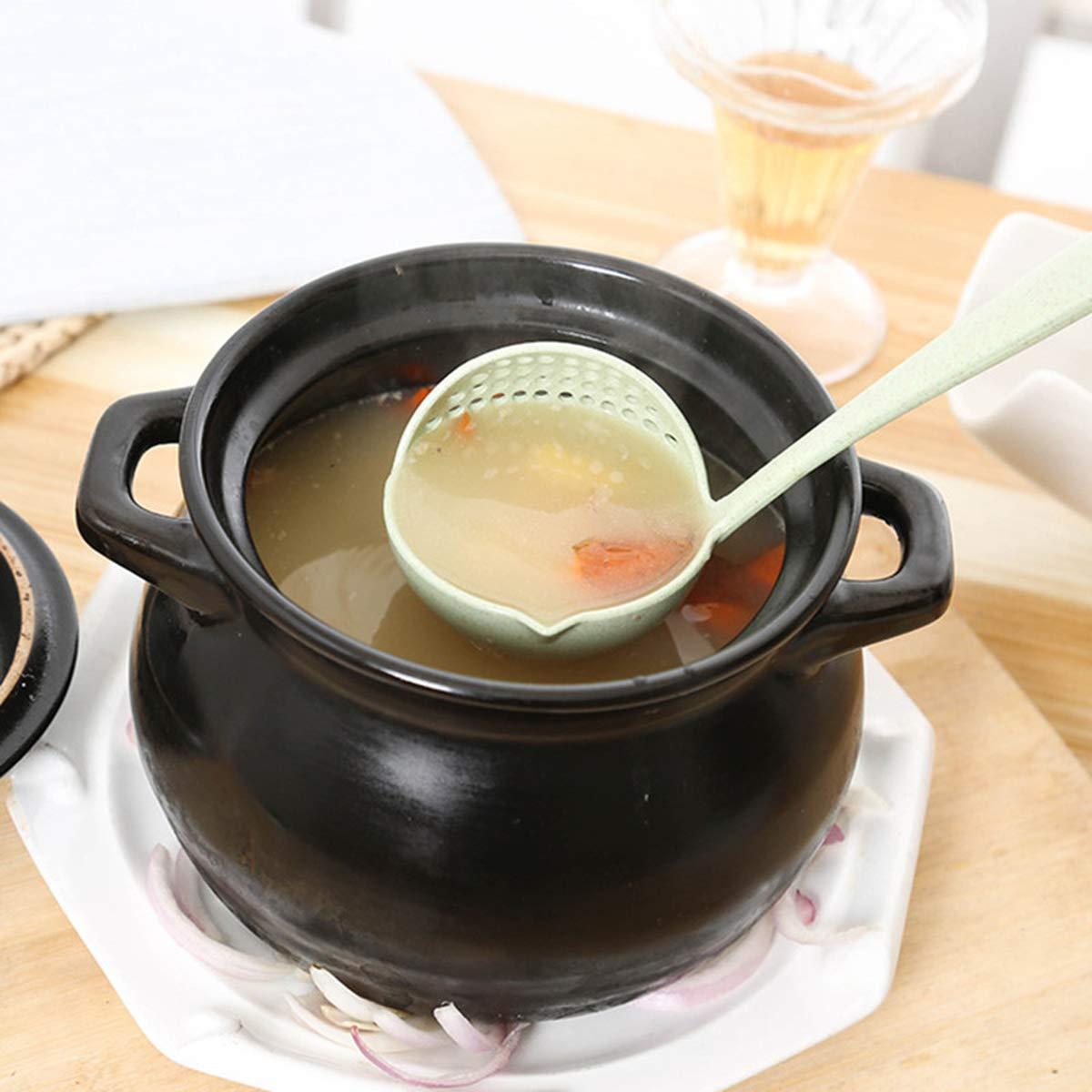 Nrpfell 2 en 1 Vajilla De Olla Caliente Cuchara De Sopa Avena con Filtro Espumadera Utensilio De Cocina Colador De Largo Manejar Beige