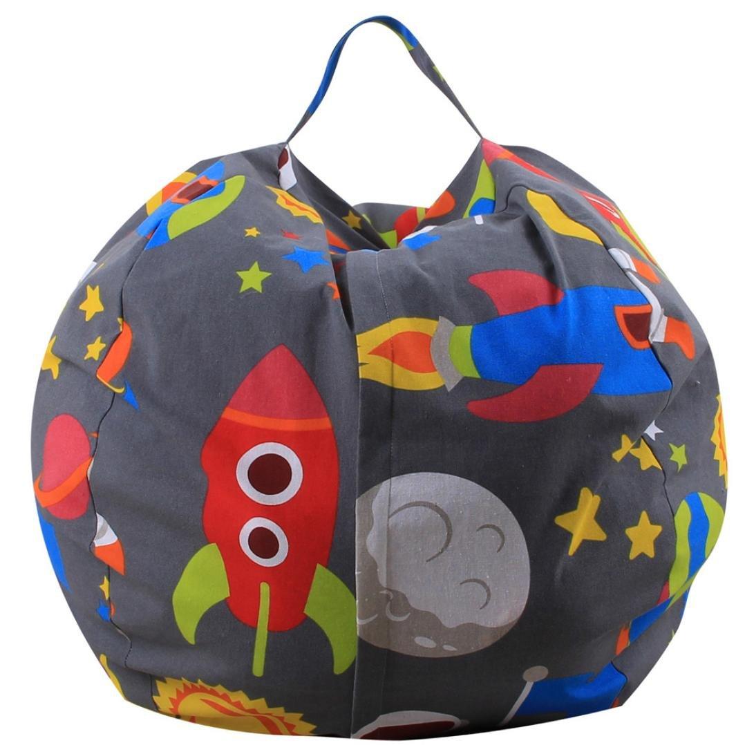 Amacok Stuff 'n Sit Stuffed Animal Storage Bean Bag Chair for Kids Pouf Ottoman for Toy Storage (B)