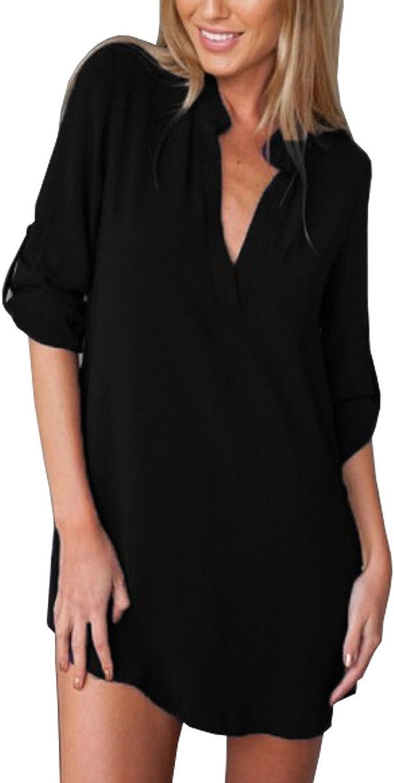 Mujeres Bluas con Manga Larga V Cuello Camisa Blusones T Shirt Pullover Tunica OL Sólido Color Originales Basicas Elegantes Chiffon Tops Talla Grande Otoño Casual Oficina Anchas Woman