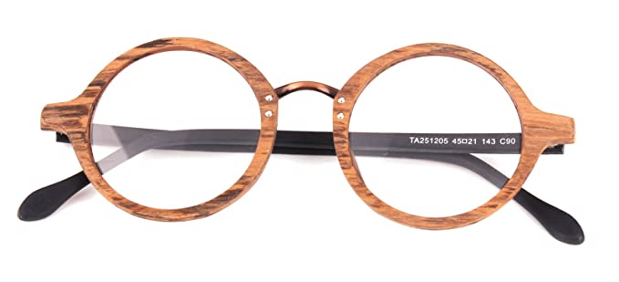 8a0e2ee802e Agstum Retro Round Optical Handmade Glasses Wood Frame Rx (Brown frame with  black temples 45