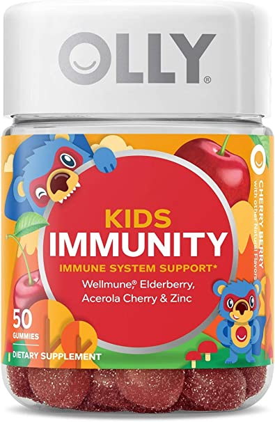 OLLY Kids Immunity Gummy, 25 Day Supply (50 Gummies), Cherry Berry, Wellmune, Elderberry, Vitamin C and Zinc Kids Immune System Support Chewable Supplement