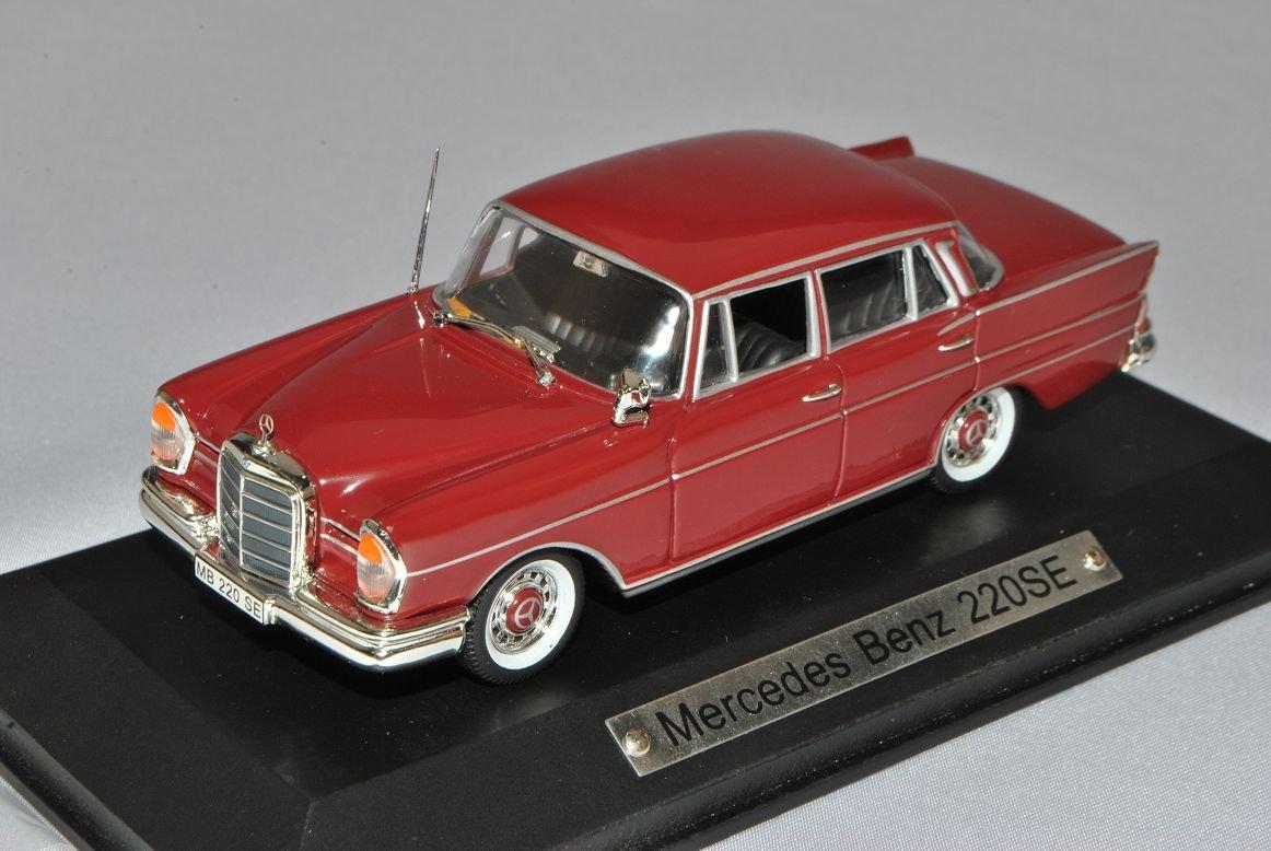 Mercedes-Benz S-Klasse 220SE Limousine Rot W111 1959-1968 1//43 Atlas Modell Auto mit individiuellem Wunschkennzeichen